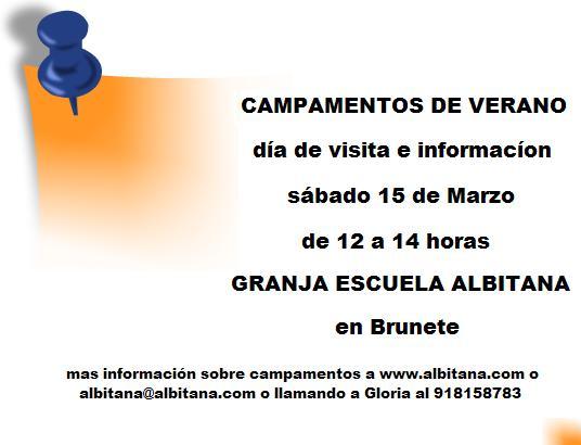 Día de visita (campamentos de verano Albitana en español y bilingüe inglés – español)