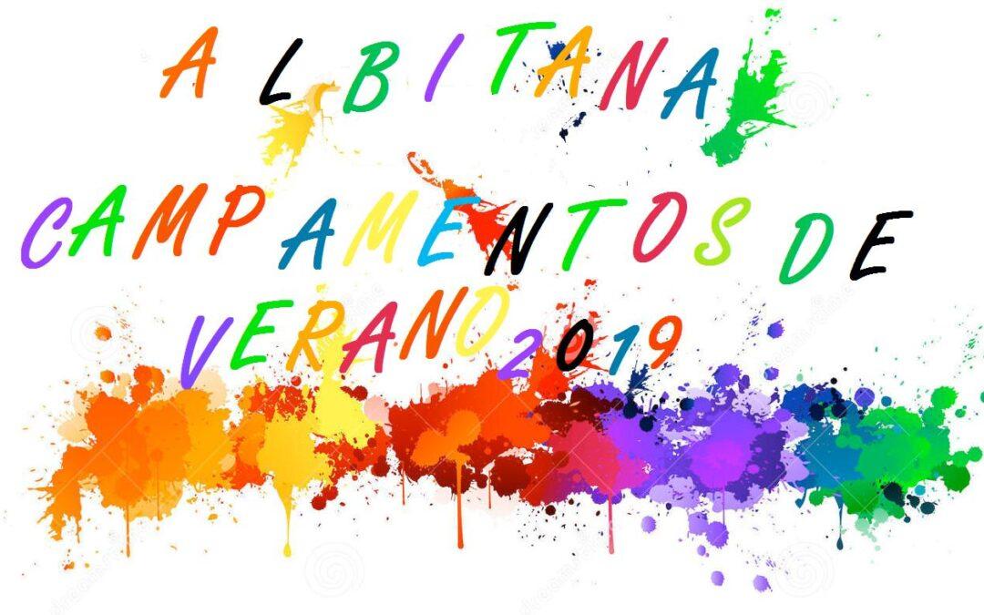 HORAS DE SALIDA / ENTRADA  CAMPAMENTOS DE VERANO ALBITANA (13/7/2019 – 14/7/2019)